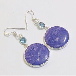 English Lavender Charoite Blue Crystal Earrings